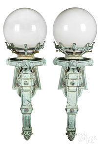 Pair of large bronze lights