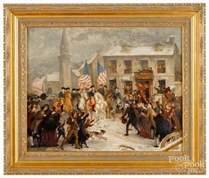 Oil on canvas of Washington entering a town