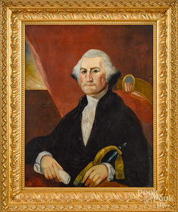 Primitive oil on canvas of George Washington