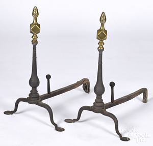 Pair of Queen Anne andirons