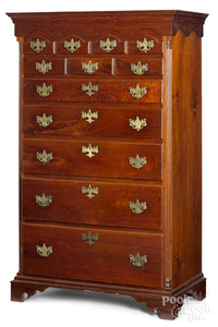 Chester County Queen Anne walnut tall chest