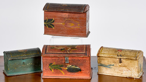 Four painted pine dome lid dresser boxes