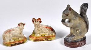 Pennsylvania chalkware squirrel, ram and sheep