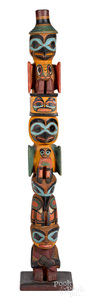 Northwest Coast Native American cedar totem pole
