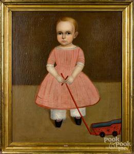 American oil on canvas folk portrait of a child