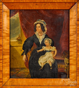 Oil on board of a mother and daughter