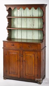 Pine stepback cupboard