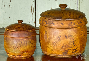Two Pennsylvania turned and painted canisters