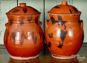Two similar redware lidded crocks