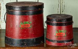 Two painted firkins
