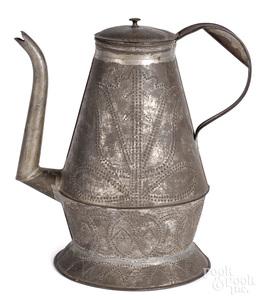Peter Derr rare tin coffee pot