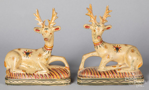 Pair of painted chalkware stags