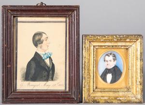 Two miniature watercolor portraits of gentlemen