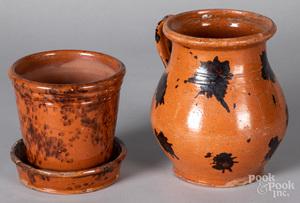 Pennsylvania redware flowerpot and undertray, etc