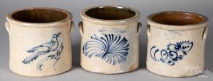 Three small stoneware crocks