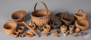 Collection of small woven baskets.