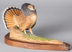 Bill Rice, carved and painted grouse
