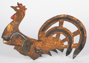 Painted sheet iron rooster weathervane, 19th c.