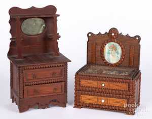 Two tramp art miniature dressers, ca. 1900