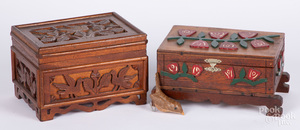 Two Pennsylvania walnut dresser boxes, ca. 1900