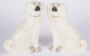 Pair of large Staffordshire spaniels, 19th c.