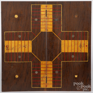 Walnut parcheesi gameboard, 19th c.