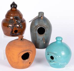 Four redware bird houses