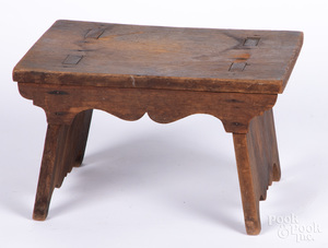 Mortised walnut footstool, 19th c.