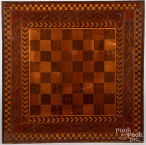 Double sided parquetry gameboard, late 19th c.