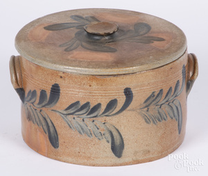 Pennsylvania stoneware lidded cake crock, 19th c.