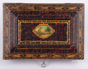Painted pine dresser box, 19th c.