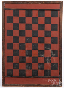 Painted pine gameboard, ca. 1900