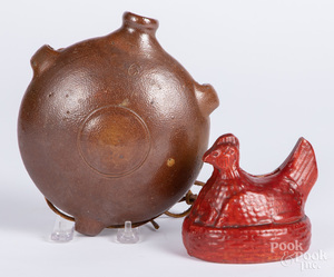 Stoneware canteen and redware hen bank