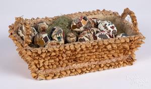 Silk and wood shaving Easter basket