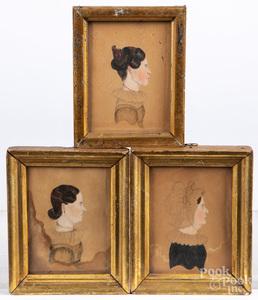 Three miniature watercolor portraits, 19th c.