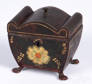 Painted toleware tea caddy, 19th c.