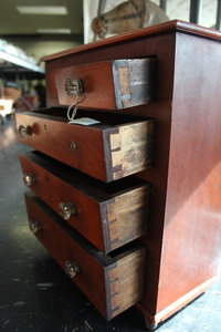Miniature mahogany chest of drawers, 19th c.
