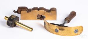 Brass mounted plane, marking gauge & horse scrape