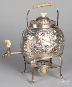 English repousse silver hot water kettle