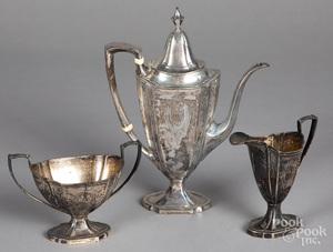 Sterling silver three-piece tea service