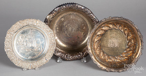Two repousse sterling silver bowls and a plate