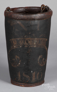 American painted leather fire bucket, dated 1816