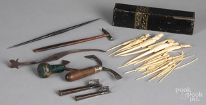 Group of early sewing accessories