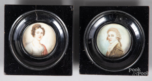 Five Continental miniature watercolor portraits.