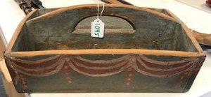 Painted pine knife tray, 19th c.