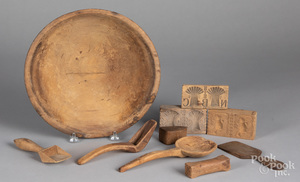 Woodenware, to include a bowl, butterprints, etc.