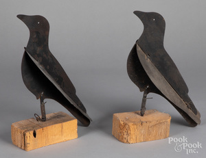 Pair of iron Dewey crow decoys