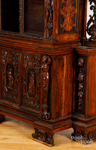 German carved walnut bookcase, 19th c.