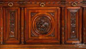 Large German carved mahogany buffet