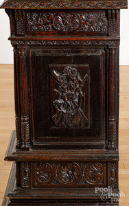 German carved oak cabinet, late 19th c.